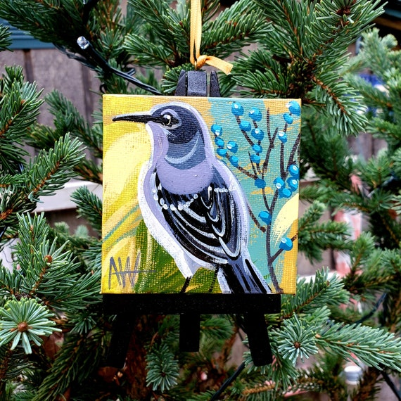 Northern Mockingbird, Texas state bird. For the Bird Lover on your list, a one-of-a-kind painting of this magnificent bird by Ashley Wolff