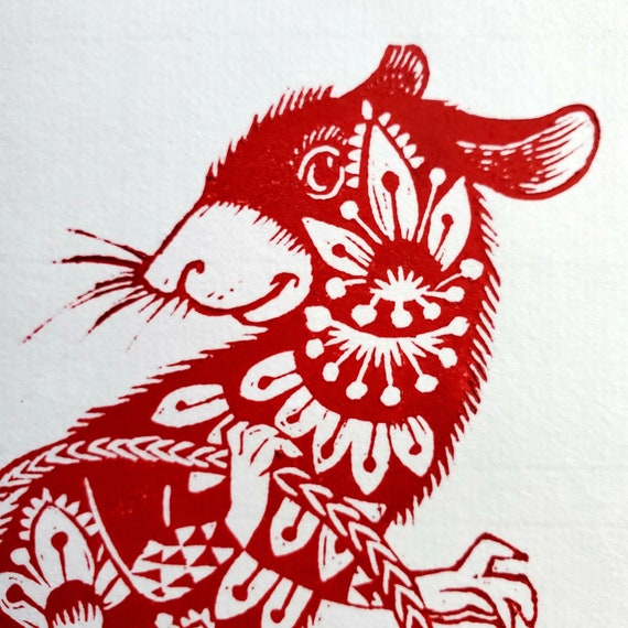 Gung Hay Fat Choy! Happy Chinese New Year, you beautiful Rat. You need this original linoleum block print to celebrate your birth year!
