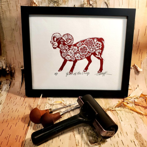 Gung Hay Fat Choy! Happy Chinese New Year, you beautiful Sheep. You need this original linoleum block print to celebrate your birth year!