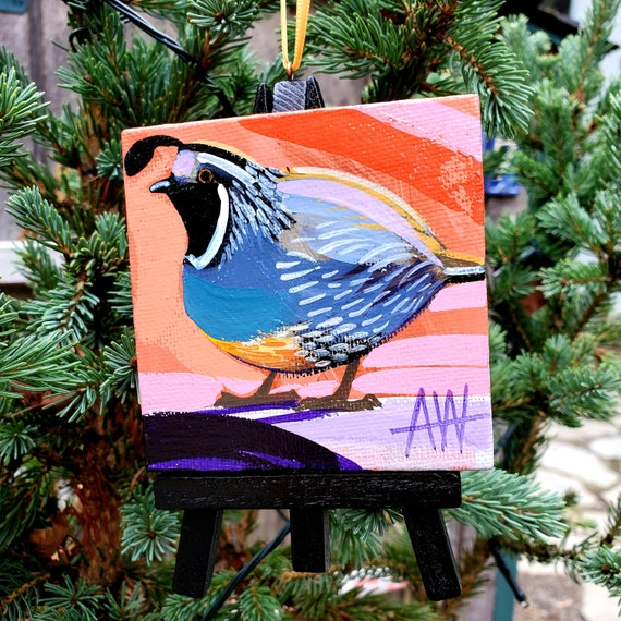 California Quail, California State Bird For the Bird Lover on your list, a one-of-a-kind painting of these magnificent birds by Ashley Wolff