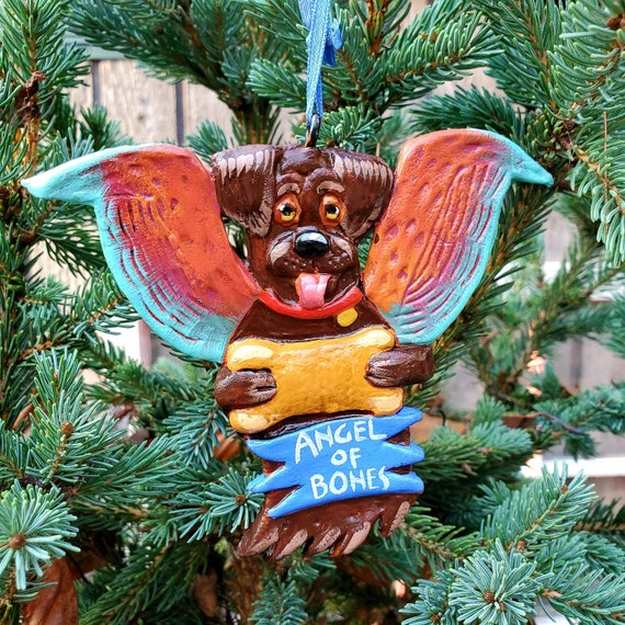 Chocolate Lab Angel of Bones. A perfect gift for the dog lover: a lightweight, handmade and painted ornament.