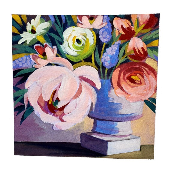 Spring Peony. I painted this original painting of a spring bouquet in a stone urn using opaque gouache on Arches watercolor paper.