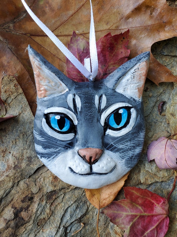 Rag Doll Cat Ornament- for the cat lover: a lightweight, handmade made and painted ornament.