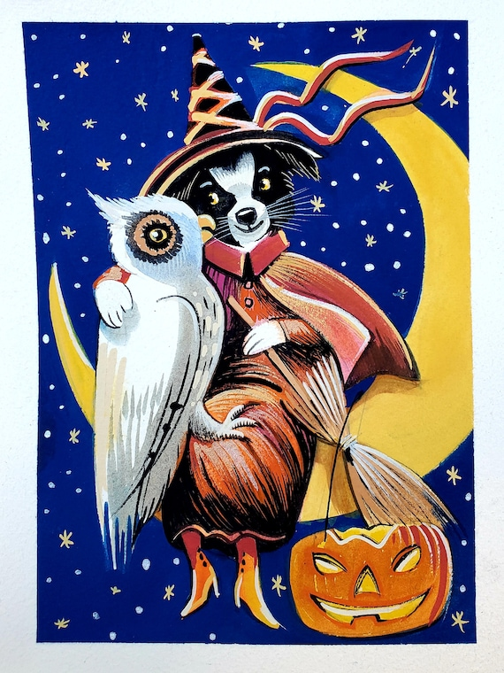 Original gouache painting of a Charming Border Collie Witch with her Snowy Owl Familiar