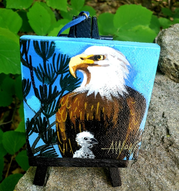 Bald Eagle with one eaglet, our national bird. For the Bird Lover on your list, one-of-a-kind painting of this majestic bird by Ashley Wolff