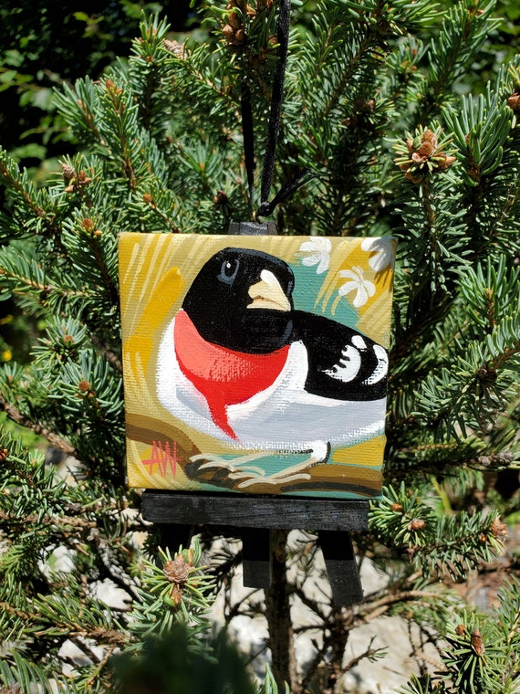 Rose Breasted Grosbeak: For the Bird Lover on your list, a one-of-a-kind painting of this magnificent bird by Ashley Wolff