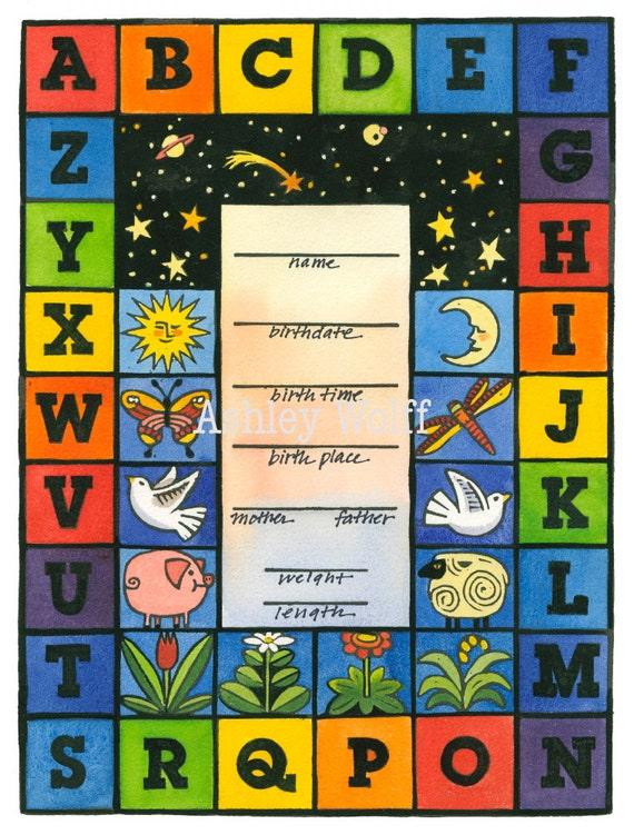 Rainbow Alphabet Birth Certificate print