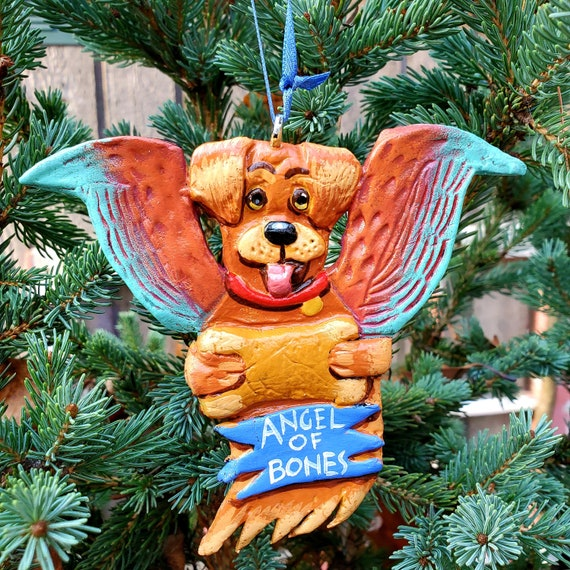 Golden Labrador Angel of Bones. A perfect gift for the dog lover: a lightweight, handmade and painted ornament.