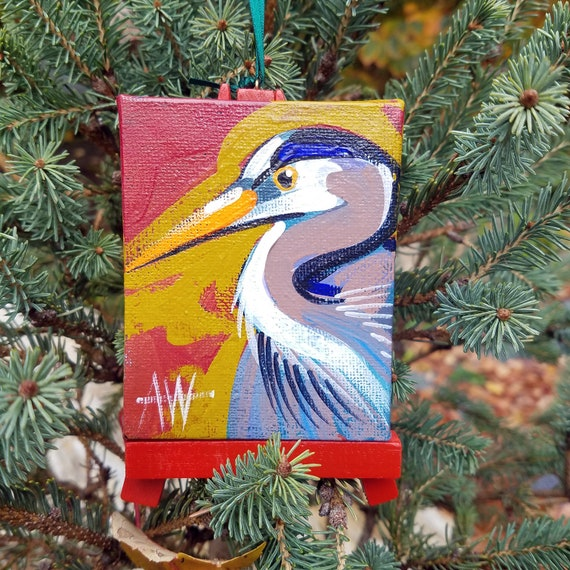 Great Blue Heron. For the Bird Lover on your list, a one-of-a-kind painting of this magnificent bird by Ashley Wolff