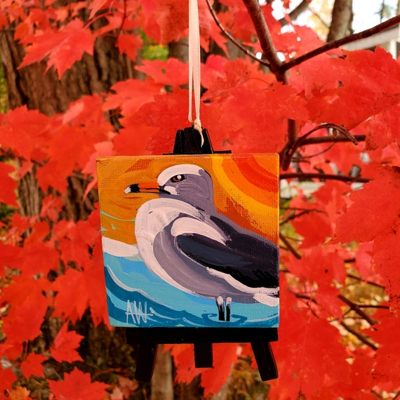 Ring-Billed Gull. For the Bird Lover on your list, a one-of-a-kind painting of this magnificent bird by Ashley Wolff