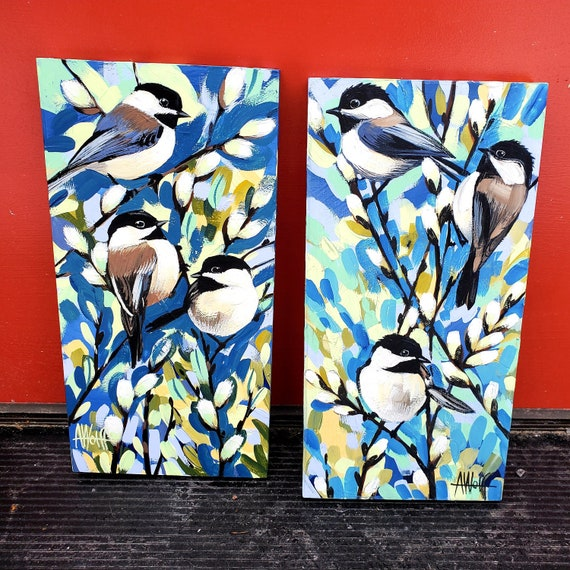 Three Chickadee-dee-dees--an original acrylic gouache painting on wood panel of these sprightly winter birds.