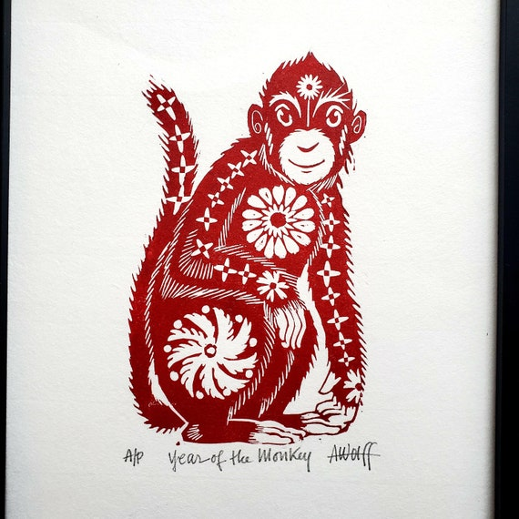 Gung Hay Fat Choy! Happy Chinese New Year, you beautiful Monkey!. You need this original linoleum block print to celebrate your birth year!