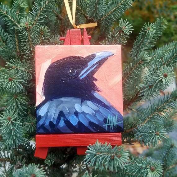Crow Ornament. For the Bird Lover on your list, a one-of-a-kind painting of this magnificent bird by Ashley Wolff