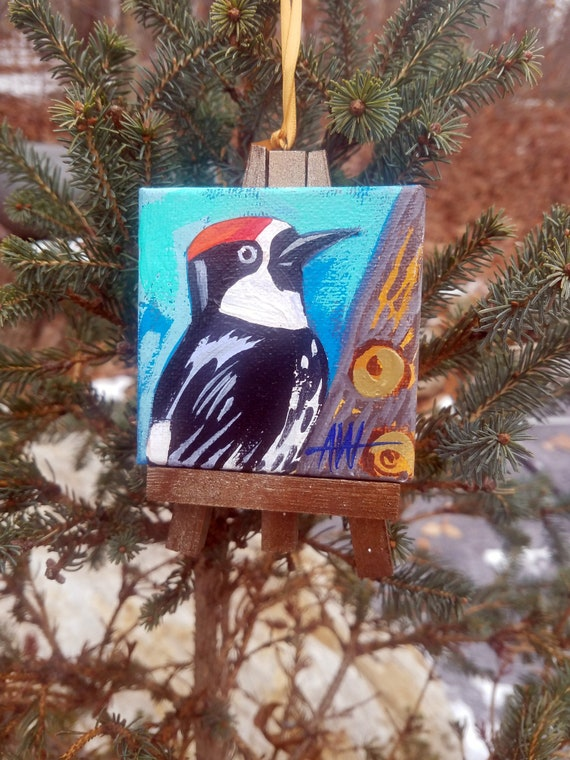 Acorn Woodpecker. For the Bird Lover on your list, a one-of-a-kind painting of this magnificent bird by Ashley Wolff