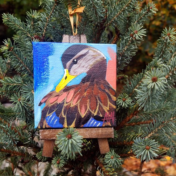 Black Duck Ornament. For the Bird Lover on your list, a one-of-a-kind painting of this magnificent bird by Ashley Wolff
