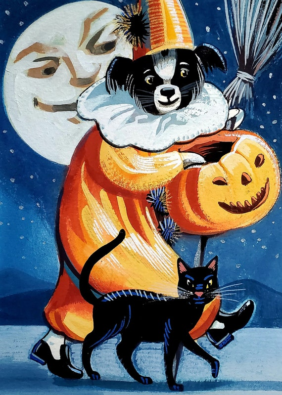 Original gouache painting of a Charming Border Collie Goblin with a carved jack-o-lantern and a trusty black catnd