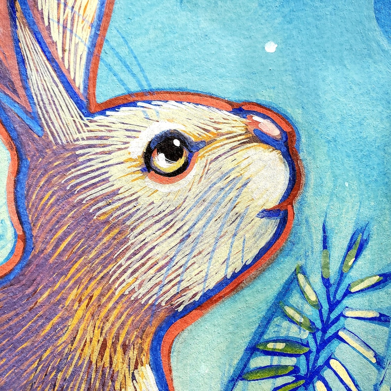 I painted this original painting of a Curious rabbit gazing up at the moon using opaque gouache on Arches watercolor paper. Rabbit and Moon