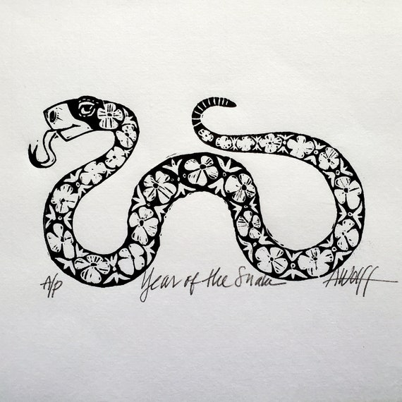 Gung Hay Fat Choy! Happy Chinese New Year, you beautiful Snake! You need this original linoleum block print to celebrate your birth year!