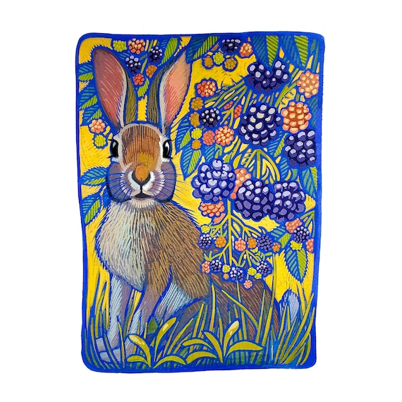 Blackberry Hare. Archival giclee of an alert hare in a blackberry patch. I painted  original with opaque gouache on Arches watercolor paper.