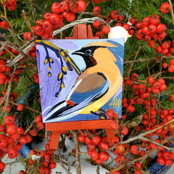 Cedar Waxwing. For the Bird Lover on your list, a one-of-a-kind painting of this magnificent bird by Ashley Wolff