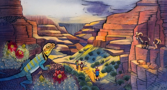 "A Grand Canyon scene of Bright Angel Trail: ""Shadows fall upon hot skin"" from the book In The Canyon"