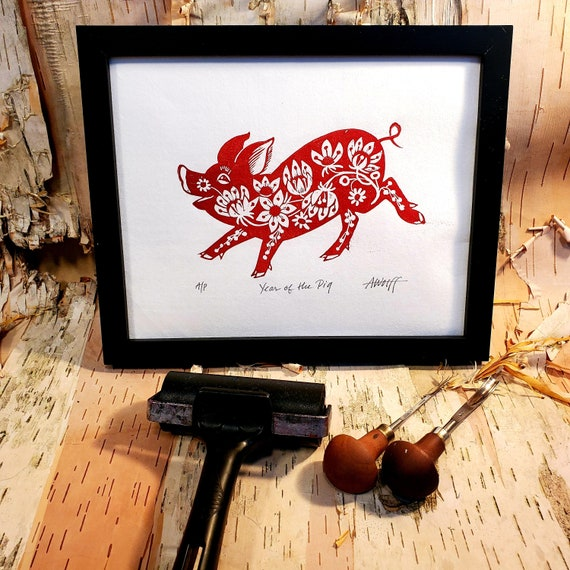Gung Hay Fat Choy! Happy Chinese New Year, you beautiful Pig! You need this original linoleum block print to celebrate your birth year!