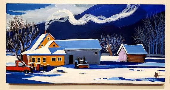Frosty Farm-original gouache painting on wood panel