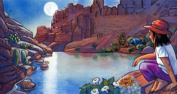 "A Grand Canyon Scene of moonlight on the Colorado River: ""Here's the dark and here's the shine."" from the book In The Canyon."