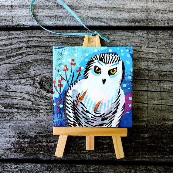 Snowy Owl. For the Bird Lover on your list, a one-of-a-kind painting of this magnificent bird by Ashley Wolff