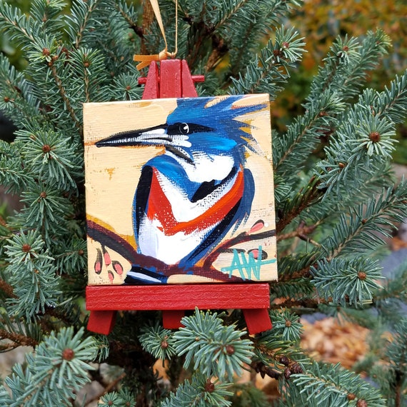 Male Belted Kingfisher. For the Bird Lover on your list, a one-of-a-kind painting of this magnificent bird by Ashley Wolff
