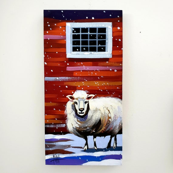 Solo sheep in a snowstorm, original gouache painting on a dimensional wood panel