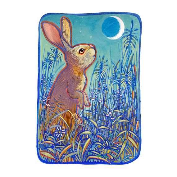 Rabbit and Moon. I painted this original painting of a Curious rabbit gazing up at the moon using opaque gouache on Arches watercolor paper.