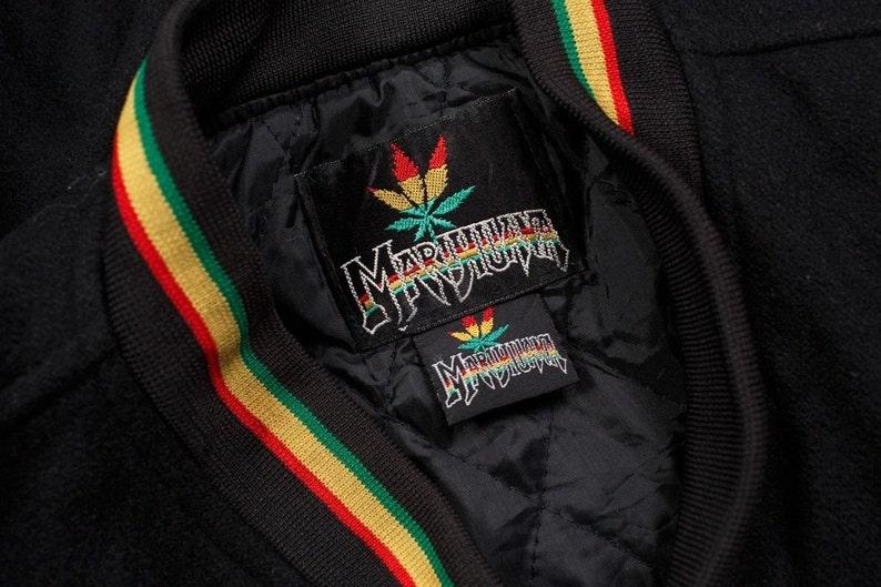 Vintage Marihuana Stadium Leather Jacket Weed 80/'s 90/'s Fashion Hip Hop
