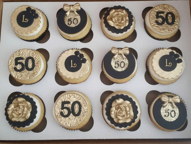 50th Birthday Edible Cupcake Toppers