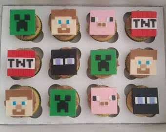 Edible mine craft cupcake toppers