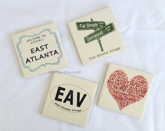 East Atlanta Village EAV Tile Coasters (set of 4)