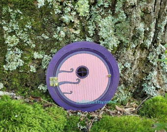 Circle Fairy Door – Opens and Closes. Pink and purple