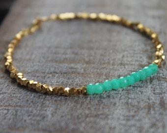 Karen hill tribe gold vermeil beads and green Chalcedony gemstone bracelet