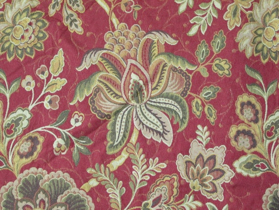 Red Jacobean Floral Upholstery Fabric Remnant 1 Yard Great Etsy