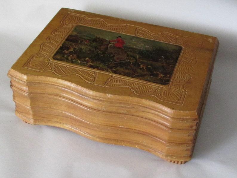 Vintage Music Box Wooden Jewelry Trinket Box with Fox Hunt Scene Mirrored Lid 1940s
