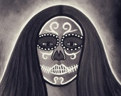 Day of the Dead (Dia de los Muertos) Mexican Woman Skull Skeleton Painted Face Goth Art - Black White Gray 10x12 Print (8x10 Print Area)