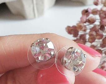 Stud earrings, point light earrings, crystal earrings, vintage, Jewel button, 40 earrings, bride, Mother's Day