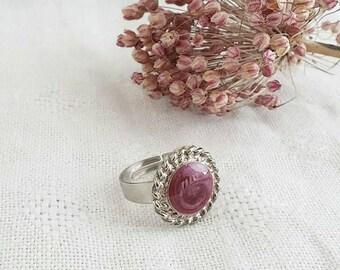 Anello smalto bordeaux, anello smaltato, anello bottone, anello grande, anello rotondo, regalo sarta, regalo amica, regalo mamma,  donna