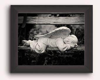 Angel Statue print, sleeping angel photography, art print, fine art photography, whimsical decor, black and white print, guardian angel