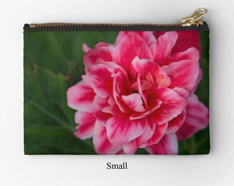 Floral print bag, floral zipper pouch, coin pouch, pink flower pouch, pink begonia print, flower zipper bag, travel bag, floral makeup bag
