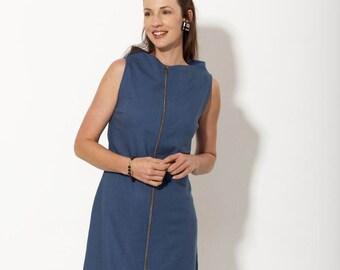 20% sale -  Summer dress - Party dress - Blue dress - Cotton dress - pin stripe dress -  spring dress - sleeveless dress