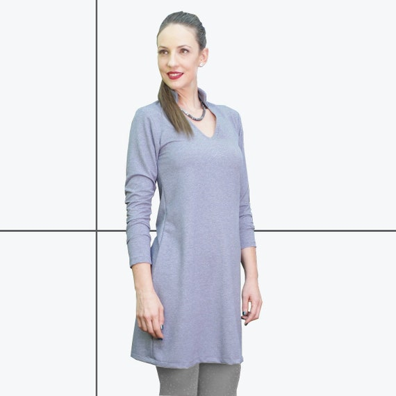 women tunic tops Women's Tunic dress Blue tunic, womens blouses, jersey Top, long top , long sleeve, Holiday Clothes
