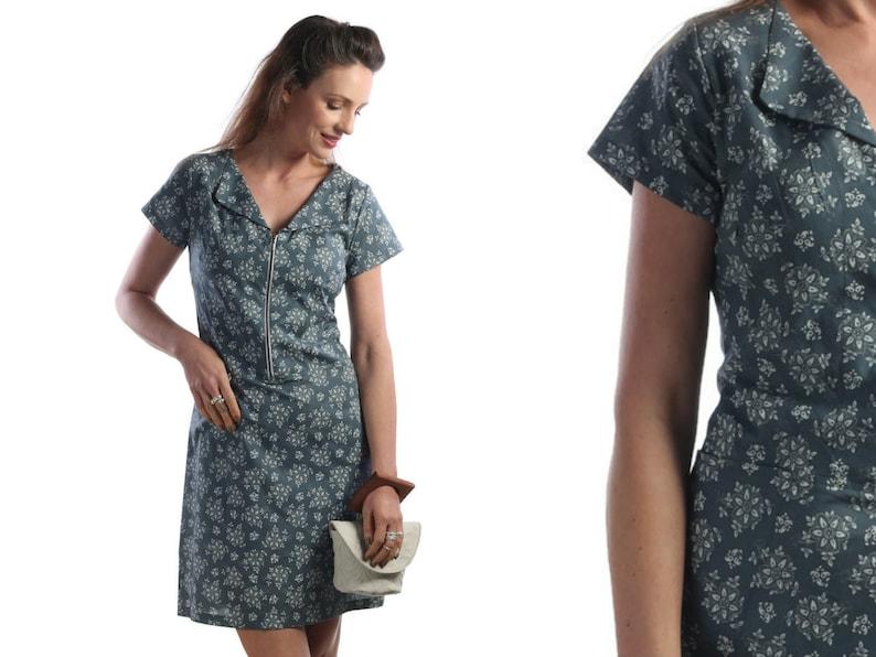 1e9a2d66273 Casual Floral Dress For Women Business Dress Navy Blue