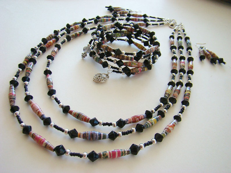 Black & Silver Beaded Necklace Handmade Necklaces Paper Bead image 0