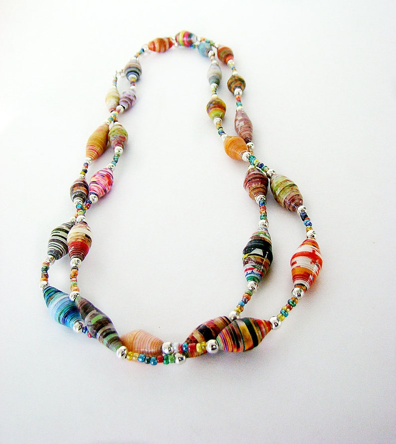 Paper Beaded Necklace Beaded Necklace Layered Necklace image 0